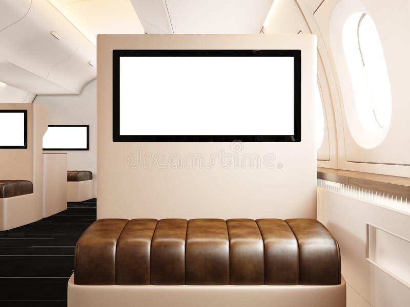 Interior de la foto del aeroplano privado Silla de cuero vacía For Your Information listo de la pantalla digital en blanco Jet de imagen de archivo