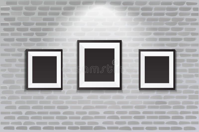 Interior De La Galería Con El Marco Negro Vacío En La Pared ...