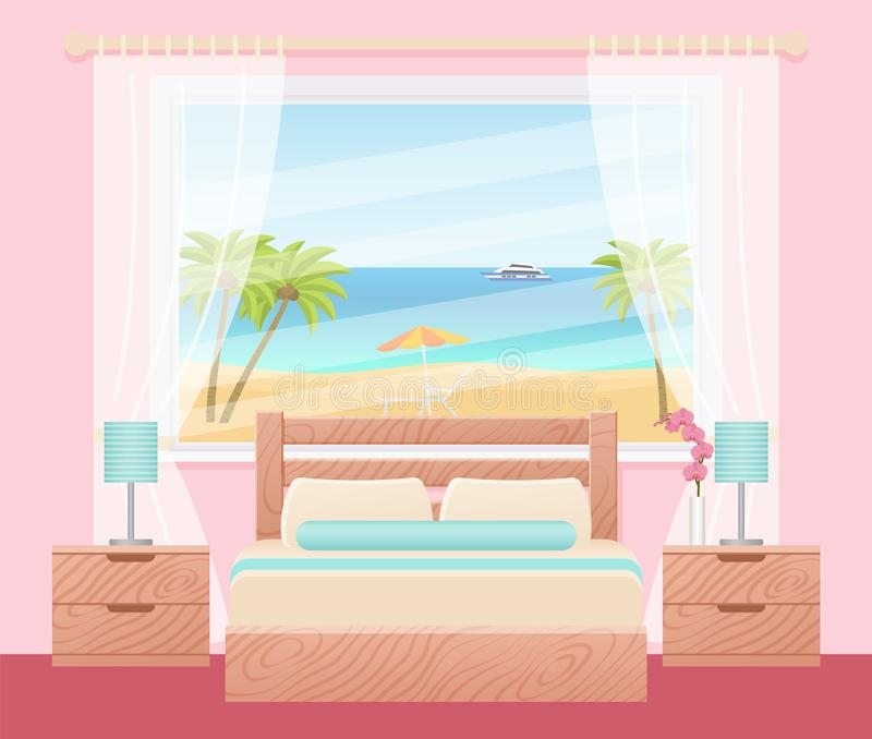 Interior de la habitación con la ventana del paisaje del océano Illustra del vector stock de ilustración
