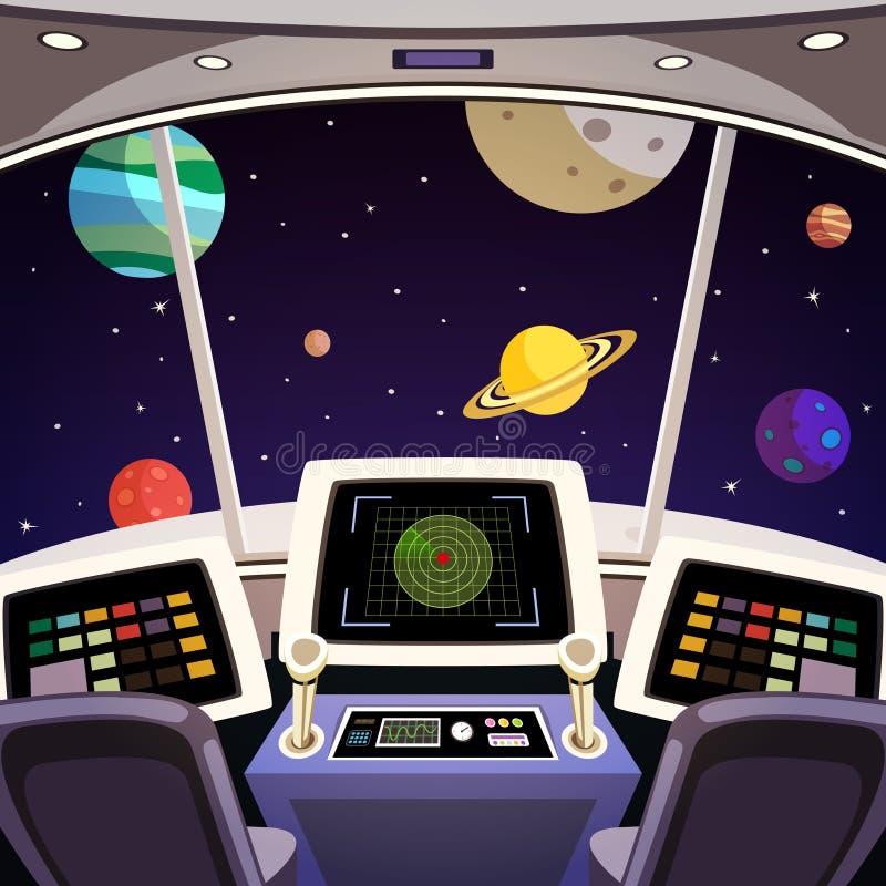 Interior de la historieta de la nave espacial stock de ilustración