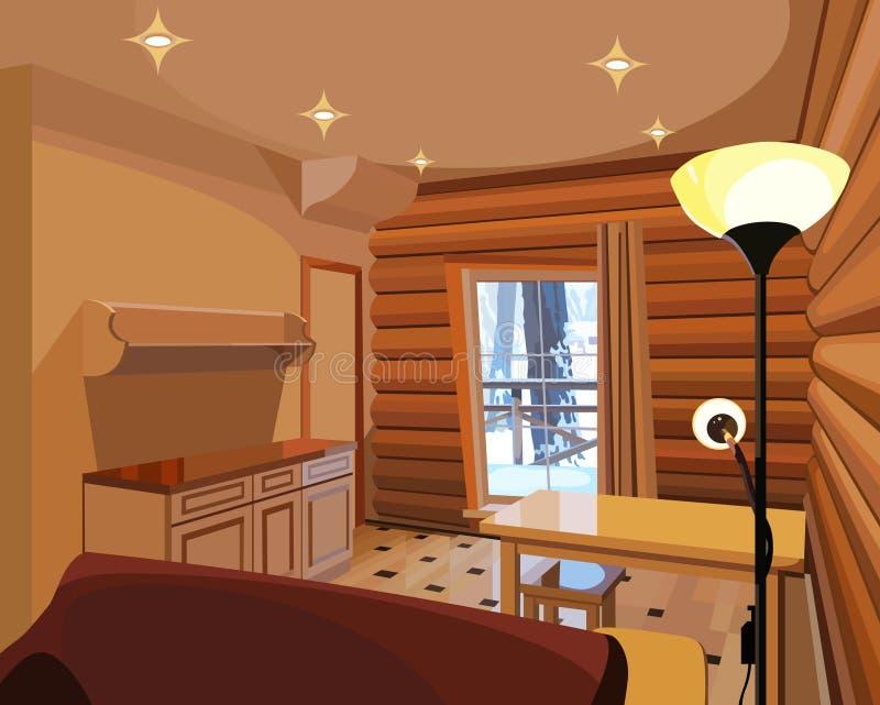 Interior de la historieta en una casa de madera stock de ilustración