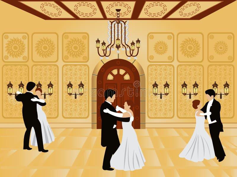Interior de la historieta - salón de baile ilustración del vector
