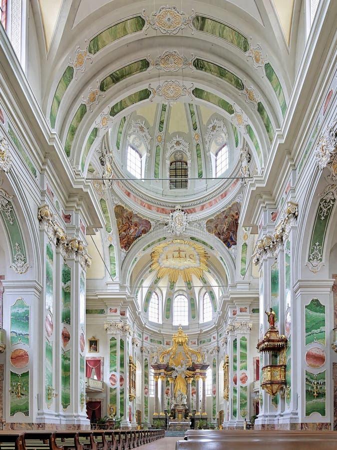 Interior de la iglesia de la jesuita de Mannheim, Alemania fotos de archivo libres de regalías