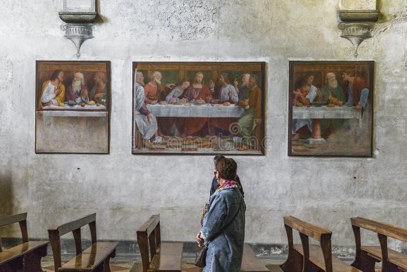 Interior de la iglesia de los ángelus del degli de Santa Maria, Lugano, Swit foto de archivo