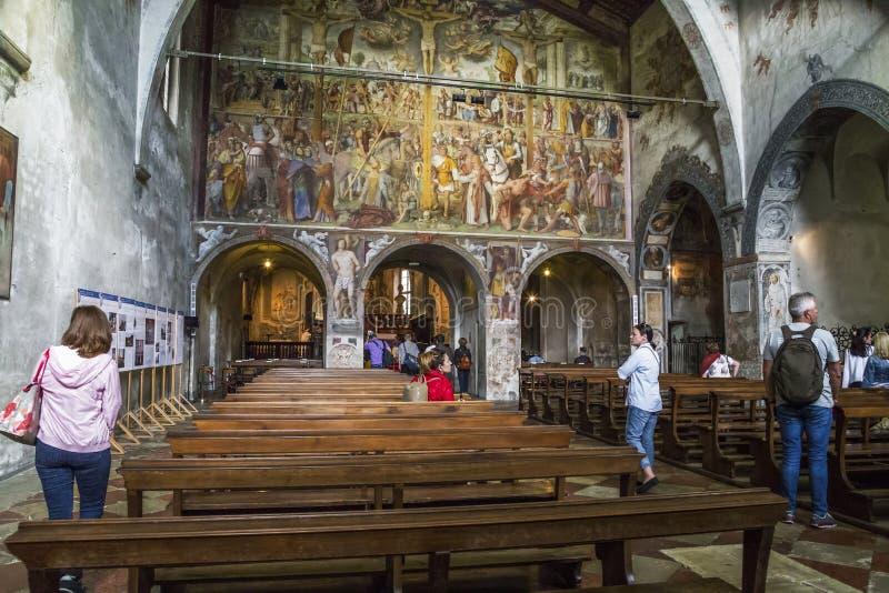 Interior de la iglesia de los ángelus del degli de Santa Maria, Lugano, Swit fotos de archivo libres de regalías