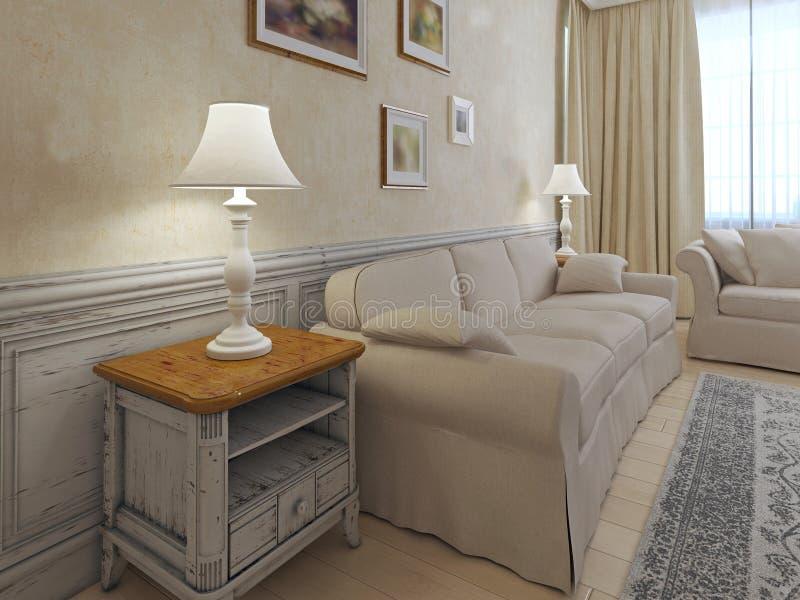 Interior de la luz en colores beige ilustración del vector