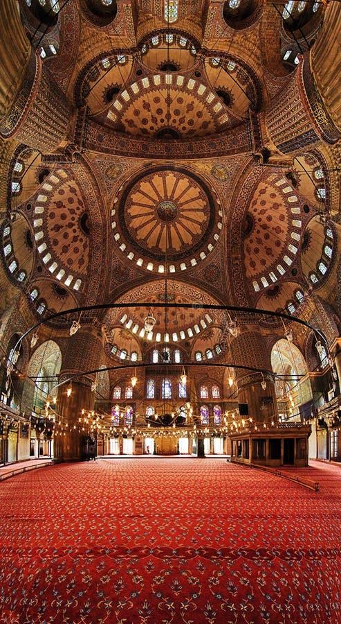 Interior de la mezquita azul (mezquita de Sultanahmet) fotografía de archivo
