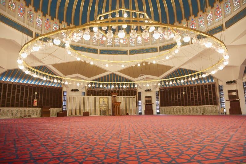 Interior de la mezquita de rey Abdullah I en Amman, Jordania imagenes de archivo