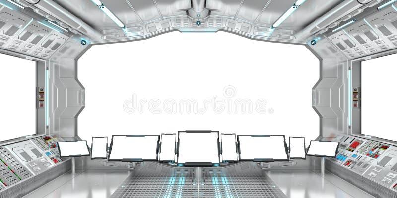 Interior de la nave espacial con la opinión sobre la representación blanca de las ventanas 3D stock de ilustración
