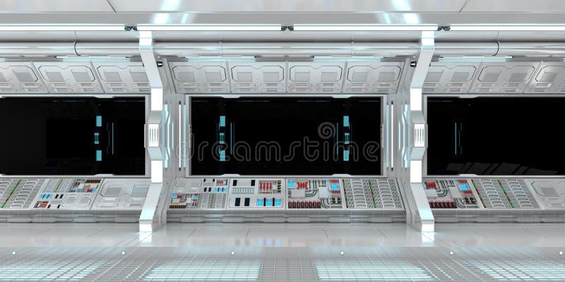 Interior de la nave espacial con la opinión sobre la representación negra de la ventana 3D stock de ilustración