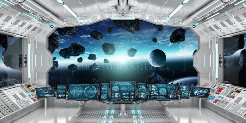Interior de la nave espacial con la opinión sobre la tierra 3D del planeta que rinde el EL ilustración del vector