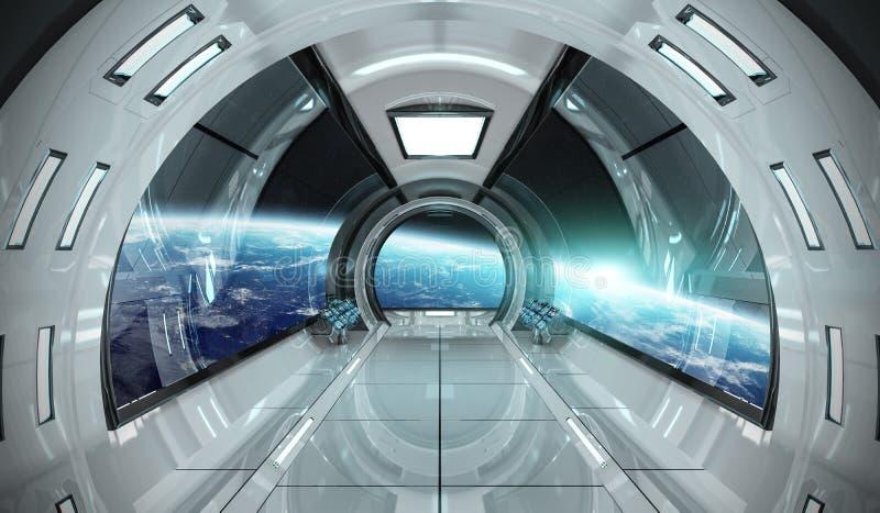 Interior de la nave espacial con la opinión sobre elementos de la representación de la tierra 3D de t stock de ilustración