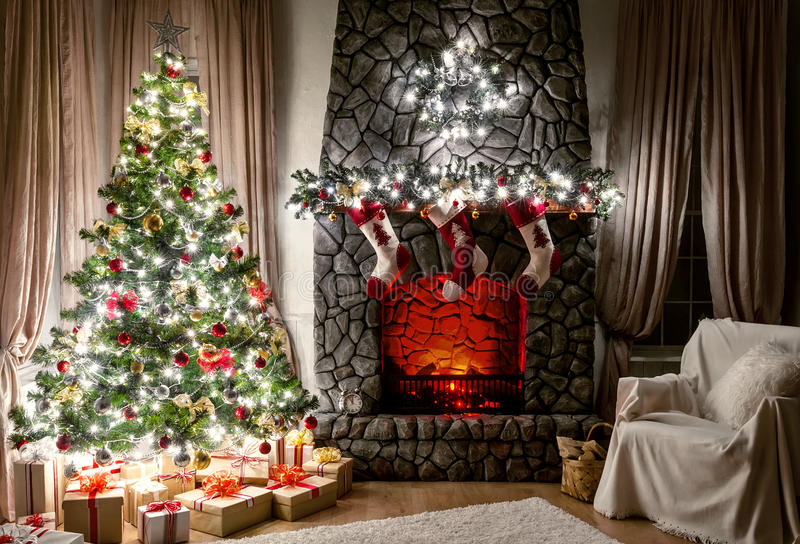 Interior de la Navidad fotos de archivo