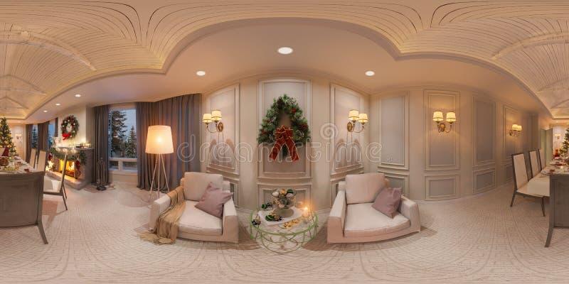 Interior de la Navidad con una chimenea ejemplo 3d de un diseño interior en un estilo clásico Panorama inconsútil 360 libre illustration