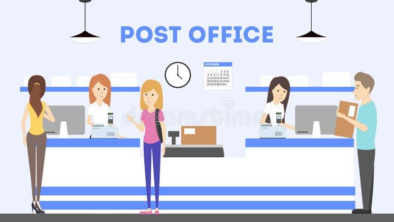 Interior de la oficina de correos stock de ilustración