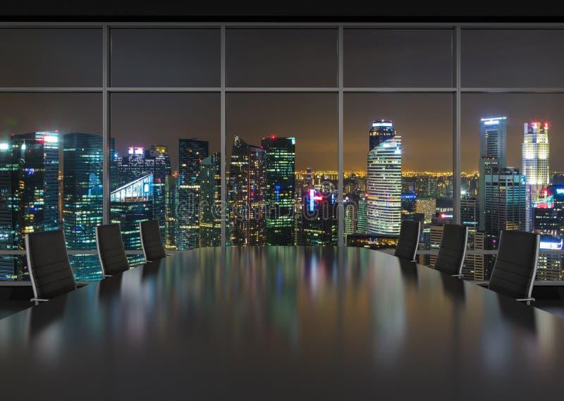 Interior de la oficina de la noche ilustración del vector