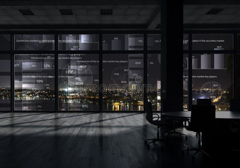 Interior de la oficina de la noche Técnicas mixtas imágenes de archivo libres de regalías