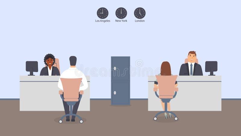 Interior de la oficina del banco Instituci?n financiera interior elegante Los clientes femeninos y masculinos se colocan cerca de libre illustration