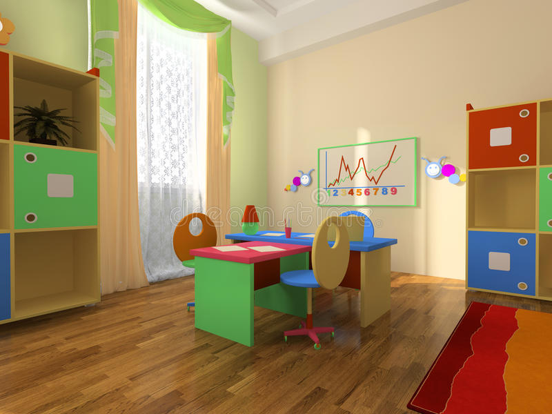 Interior de la oficina del bebé stock de ilustración