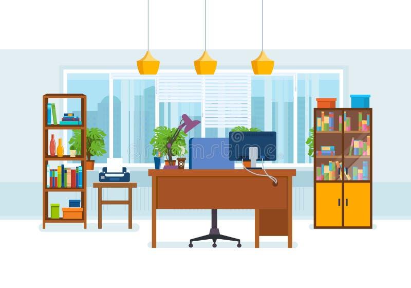 Interior de la oficina del cuarto, con los muebles de trabajo, encendiéndose libre illustration