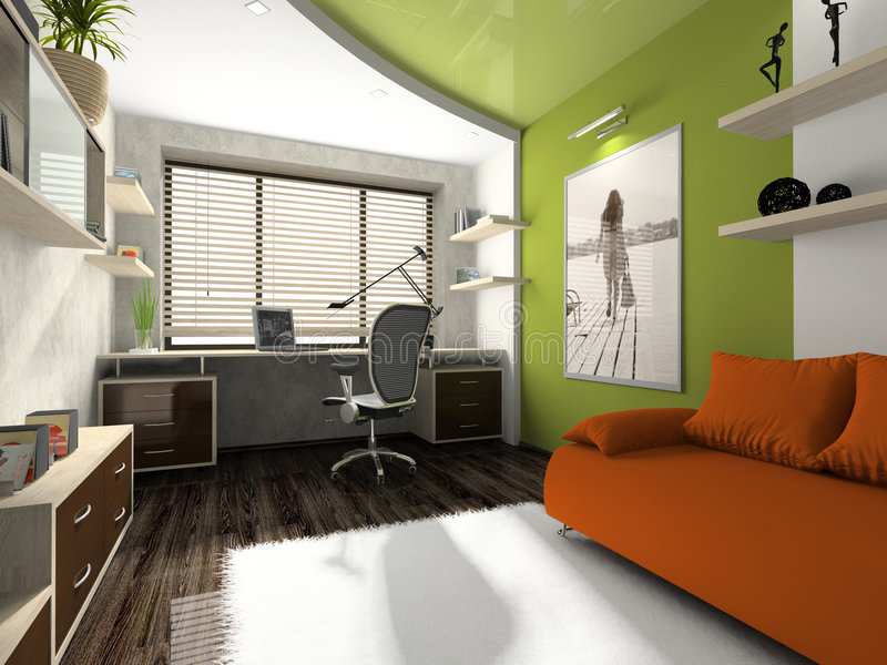 Interior de la oficina privada ilustración del vector
