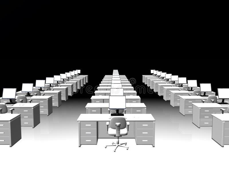 Interior de la oficina, trabajo en equipo. stock de ilustración
