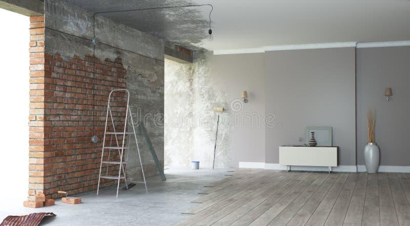 Interior de la renovación 3d rinden imagen de archivo