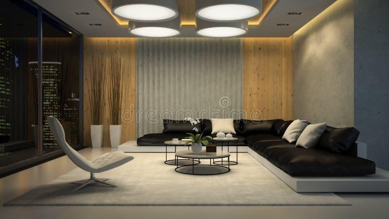 Interior de la representación de la opinión 3D de la noche de la sala de estar ilustración del vector