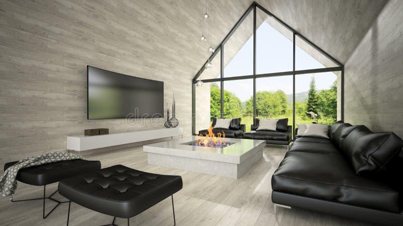 Interior de la representación de la sala de estar 3D del diseño moderno foto de archivo