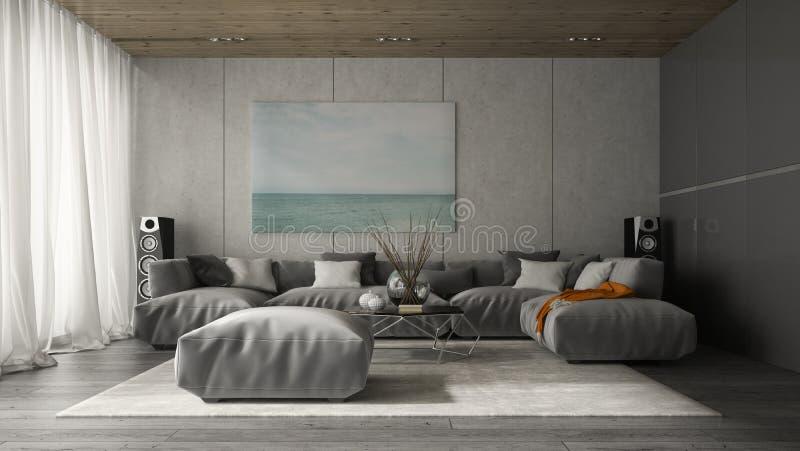 Interior de la representación del sitio 3D de diseño moderno fotos de archivo