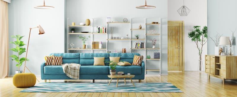 Interior de la representación moderna del panorama 3d de la sala de estar stock de ilustración