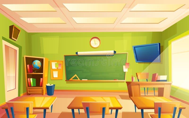 Interior de la sala de clase de la escuela del vector, sitio de entrenamiento Universidad, concepto educativo, pizarra, muebles d ilustración del vector