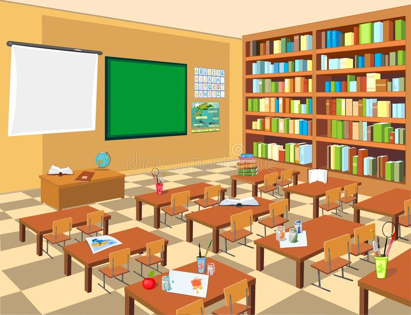 Interior de la sala de clase libre illustration