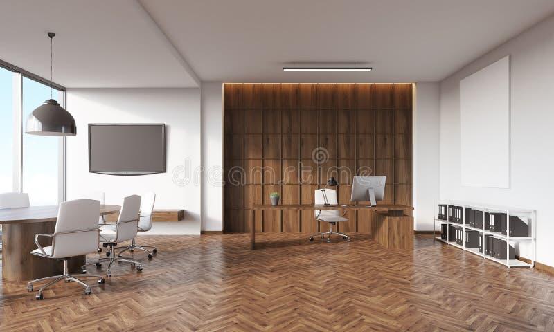 Interior de la sala de conferencias con el aparato de TV stock de ilustración