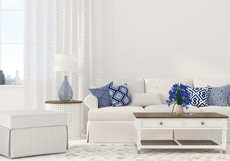 Interior de la sala de estar stock de ilustración