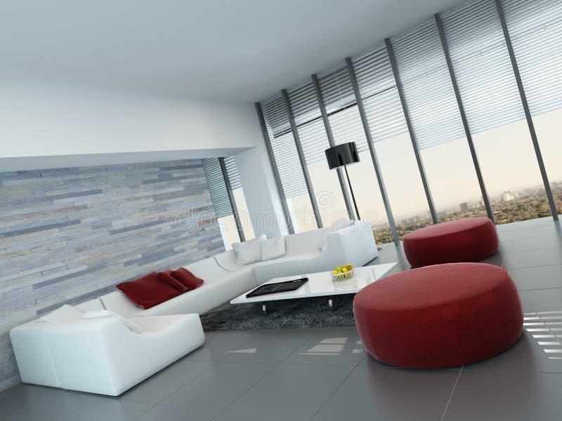 Interior de la sala de estar con la pared de piedra y los taburetes rojos stock de ilustración
