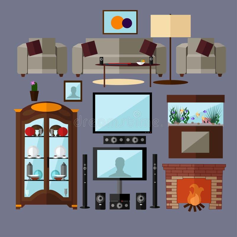 Interior de la sala de estar con muebles Ejemplo del vector del concepto en estilo plano Elementos aislados relacionados caseros  ilustración del vector