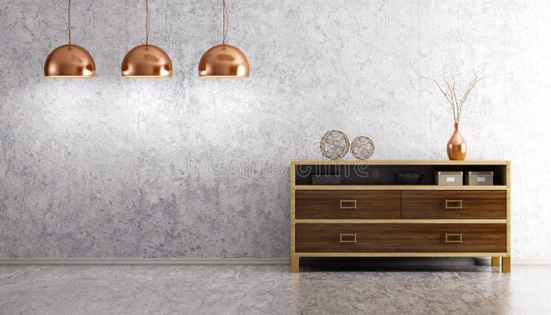 Interior de la sala de estar con renderi de madera del aparador y de las lámparas 3d ilustración del vector