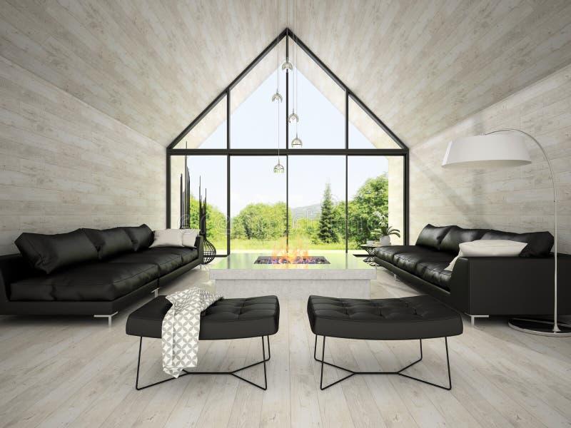 Interior de la sala de estar 3D del diseño moderno que rinde 3 fotografía de archivo libre de regalías