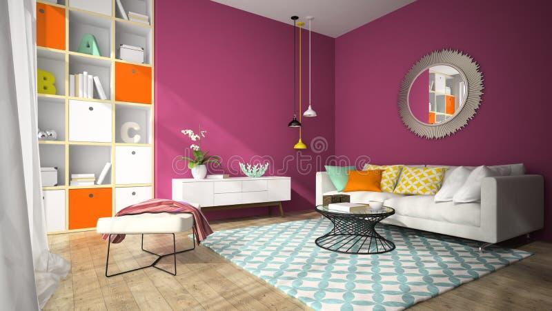 Interior de la sala de estar del diseño moderno con el rende redondo del espejo 3D foto de archivo