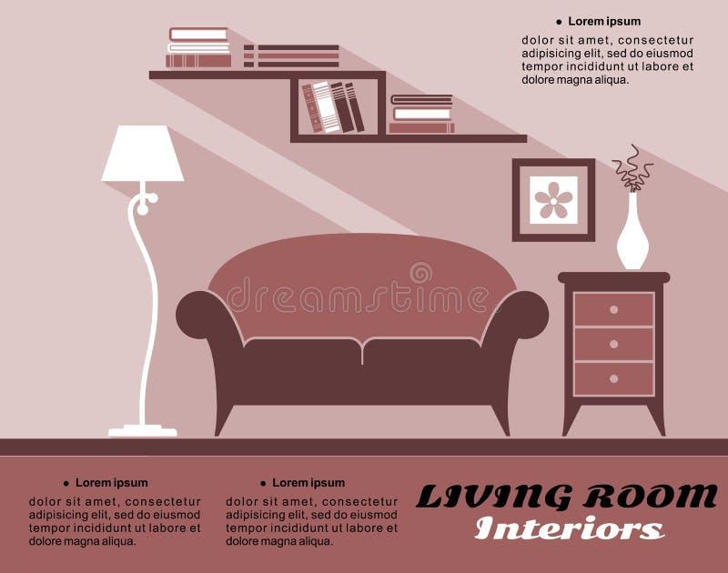Interior de la sala de estar en estilo plano ilustración del vector