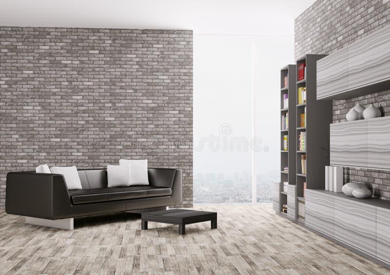 Interior de la sala de estar moderna 3d ilustración del vector