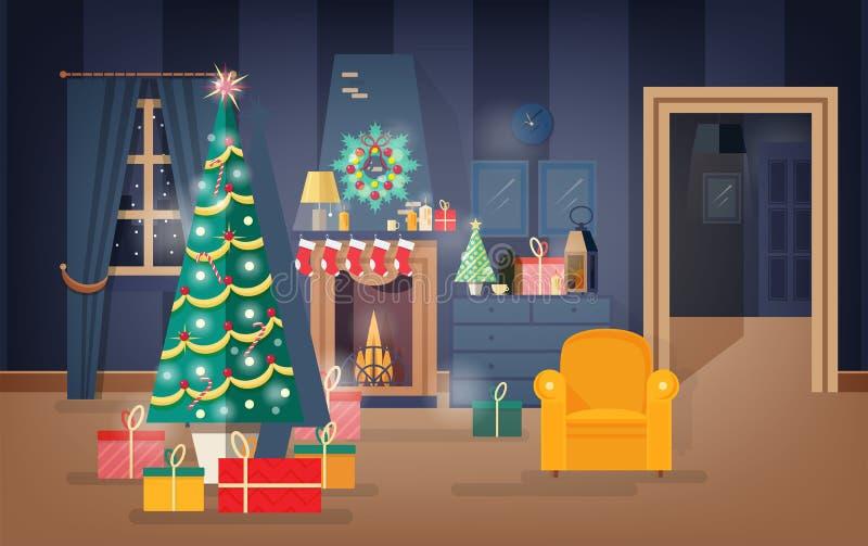Interior de la sala de estar cómoda adornado para la Nochebuena con el árbol de abeto, las guirnaldas hermosas y las guirnaldas A stock de ilustración