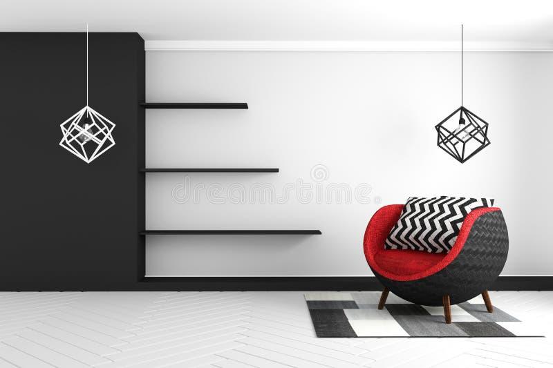 Interior de la sala de estar con la butaca y el gabinete azules, del terciopelo representación 3D libre illustration