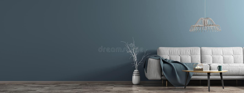 Interior de la sala de estar con el sofá blanco, mesa de centro de madera, florero con la representación del panorama 3d de la  libre illustration