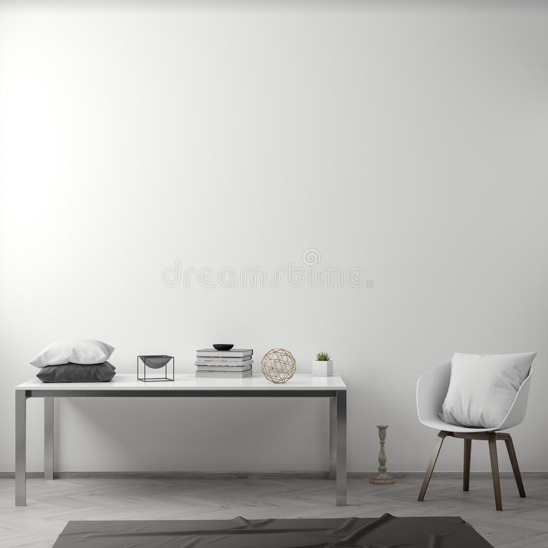 Interior de la sala de estar con la pared blanca, representación 3D fotos de archivo