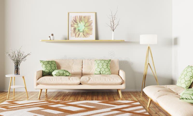 Interior de la sala de estar con la representación del sofá 3d ilustración del vector