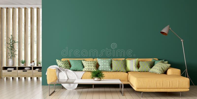 Interior de la sala de estar con la representación del sofá 3d stock de ilustración