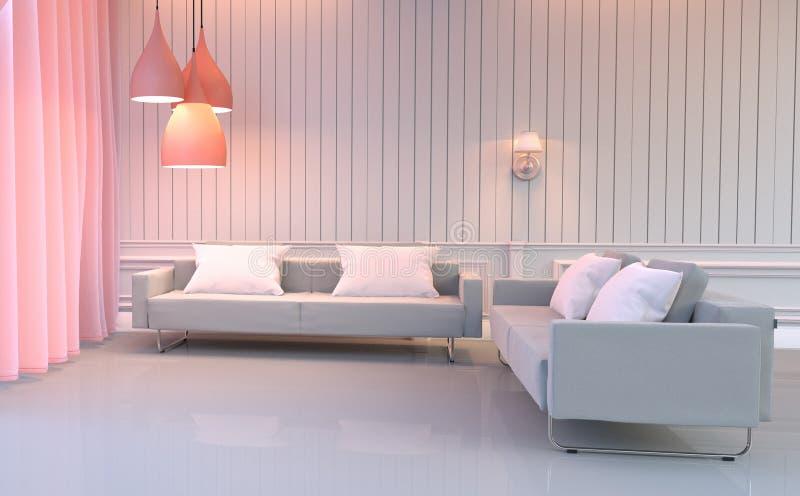 Interior de la sala de estar - el estilo elegante del sitio del rosa de Europa tiene el sofá y almohadas dobles representaci?n 3d libre illustration