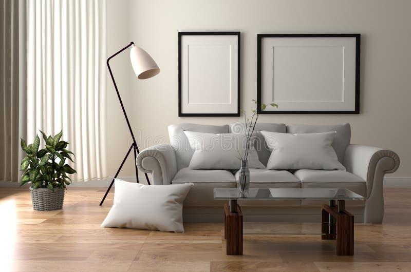 Interior de la sala de estar - estilo escandinavo del sitio con el piso de madera en fondo blanco vacío de la pared representaci? ilustración del vector